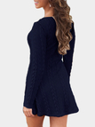 Navy See-through Ladies Style Cable Knit Mini Dress