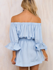 Blue Sexy Off-shoulder Flounced Mini Dress