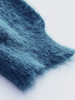 Peacock Blue Off Shoulder Chunky Furry Detail Jumper