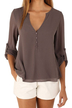 V Neck Buttoned Detail Long Sleeve Blouse with Curved Hem