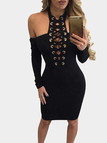 Black Sexy Cold Shoulder Lace-up Long Sleeves Mini Dress
