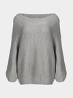 Classic Grey Off Shoulder Long Sleeves Knit Sweater