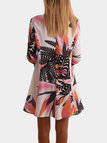 Multicolor Floral Pattern Round Neck Flared Sleeves Mini Dress