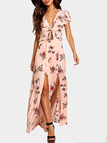 Peach Floral Crepe Splited Maxi Dress