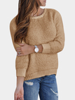 Khaki Round Neck Plush Knitted Details Sweater