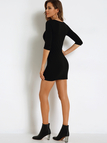 Ladder Cutout Front Bodycon Mini Dress in Black