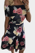 Black Floral Print Off-The-Shoulder Tigh-waist Midi Dress