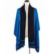 Frayed Wrap Scarf with Stripe Detail
