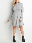 Plus  Size Long Sleeve Jersey A-Line Dress