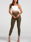 Army Green Side Cross Lace Up Holes Skinny Pants