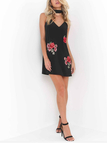 Black Sleeveless Random Rose Embroidery Sexy V-neck Halter Mini Dress With Chocker