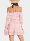 Pink Off-The-Shoulder Hollow Out Smocked Mini Dress