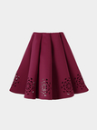 Burgundy Midi Full Skirt With Cut Flowers Hem