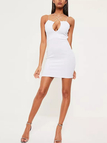 White Sexy Sleeveless Design Bodycon Mini Dress