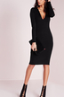 Plunge V-neck Long Sleeves Backless Midi Dress