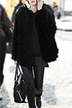 Black Artificial Fur Coat