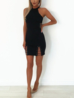 Black Lace-up Design Halter Sleevesless Bodycon Dress