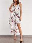 Sexy Random Floral Print Irregular Hem Backless Dress