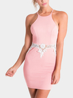 Pink Halter Dress With Lace Insert Detail