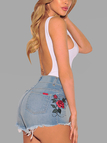 Blue Random Rose Embroidered High Waist Bodycon Denim Shorts