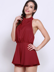 Red Backless Sleeveless Halter Playsuit