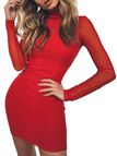Red Round Neck Net Yarn Long Sleeves Bodycon Mini Dresses