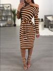 Coffee One Shoulder Knot-up Front Pinstripe Midi Dress