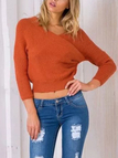 Orange Sexy Wrapped Cropped Jumper