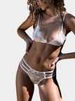 White Sexy Lace Bodycon lingerie Set with Stretch Waistband