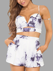 Sexy Random Floral Print Sleeveless Crop Top & Shorts Co-ord