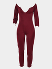 Burgundy V-neck Off Shoulder 3/4 Sleeves Jumpsuit