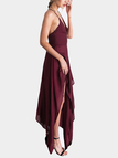 Dark Red Sexy V-neck Backless Sleeveless Irregular Hem Maxi Dress
