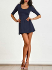 Dark Blue Open Back Half Sleeves Dress