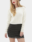 White Round Collar Dropped Shoulder Knit Sweater
