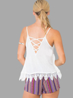 White Lace String Detail Cami Top with Cross Back