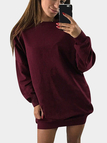 Burgundy Solid Color Round Neck Long Sleeves Sweatshirt Dresses