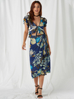 Random Floral Print Tassel Detail Cross Over Two Piece Outfits in Navy
