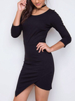 Black Crew Neck 3/4 Sleeves Irregular Hem Mini Dress