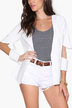 White Cut Out 3/4 Length Sleeves Open Front Blazer