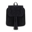 Black Fringe Backpack with Foldover Flap