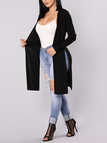 Black Splited Design Long Sleeves Cardigan