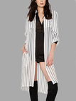 Sheer-through Vertical Stripe Single-breasted Loose Chiffon Coat