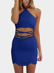 Blue Sexy Halter Neck & Cutout Waist Mini Dress