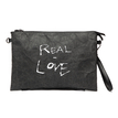 Black Kraftpaper Letter Pattern Clutch Bag