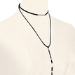 Layered Silver Pleated Pattern Velvet Ribbon Necklace