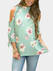 Green Chiffon Floral Print Cold Shoulder Tie Cuff Blouses