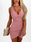 Pink Crossed Front V-neck Sleeveless Mini Dresses