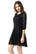 Плюс Размер Black Batwing Sleeve Lace Dress
