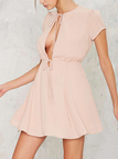 Fashion Plunging Neckline Mini Dress with Ties Design