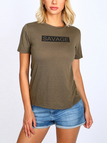 Army Green Fashion Letter Print T-shirt